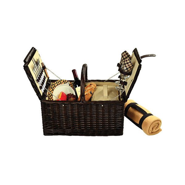 Picnic at Ascot Surrey Picnic Basket for Two with Blanket ($122) ❤ liked on Polyvore featuring home, kitchen & dining, food storage containers, brown and picnic at ascot
