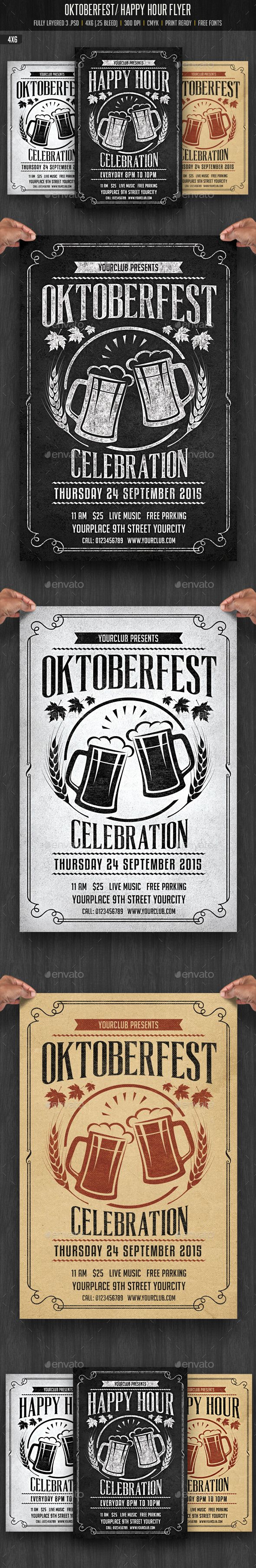 Oktobefest / Happy Hour Flyer Template #design Download: http://graphicriver.net/item/oktobefest-happy-hour-flyer/12755962?ref=ksioks