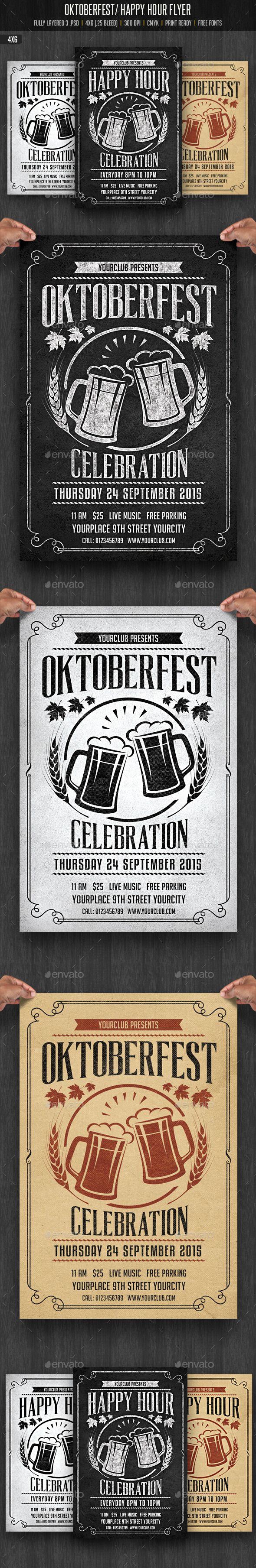 Oktobefest / Happy Hour Flyer Template #design Download: http://graphicriver.net/item/oktobefest-happy-hour-flyer/12755962?ref=ksioks