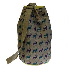 Jute Duffle - Stag Bag   Hip Angels Beautiful everyday wear wholesale Hipster Duffle bags imported from India.  Present in six different colour prints and designs with vivid yellow cotton lining matching with yellow piping.   They also have a strong and natural strap,side zip and extra inside pocket compartment, great for storing phone, keys or any small essential accessories making it easier to reach when needed.  #Wholesaler_Bags #Wholesale_Bag #Bag_Wholesale #Bags_Wholesaler #Rucksack