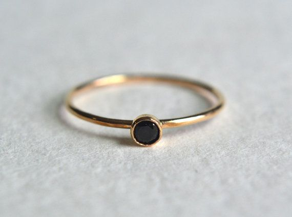 One dainty gold filled ring.Super cute and tiny 3mm natural black spinel*, set in solid 14k gold cup. The band is gold filled and thin at 1mm. Polished
