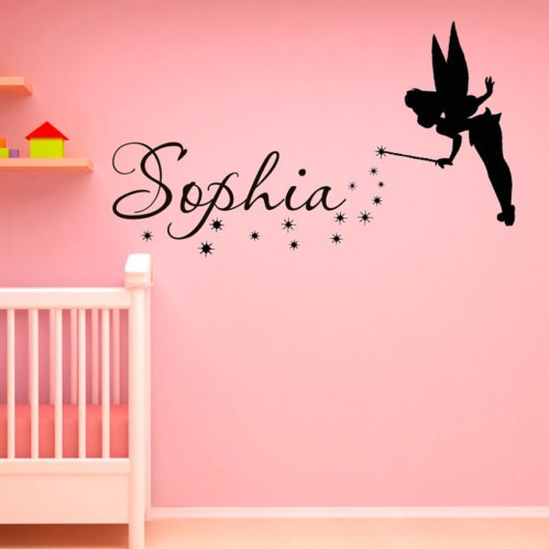 Name Wall Decal Fantasy Fairytale Magic Tinkerbell Peter Pan Disney Silhouette- Name Decal For Nursery Decals For Girls Bedroom Dorm Q060