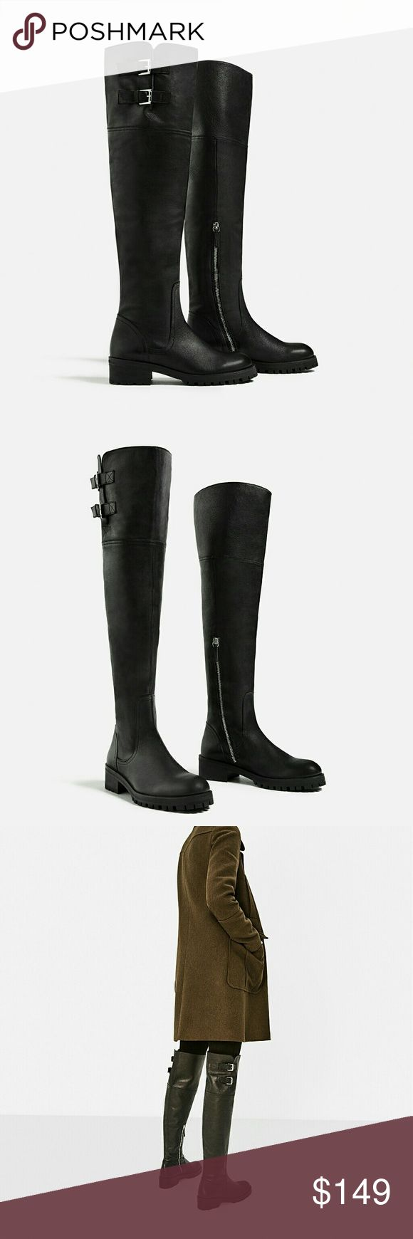 Zara Over the Knee Flat Leather boots black 5 Brand new with tag attached. Gorgeous,  comfortable genuine leather boots with buckle detail, with Zara dust bag. From Zara AW 16 collection. Will consider reasonable offers via offer tab Zara Shoes Over the Knee Boots