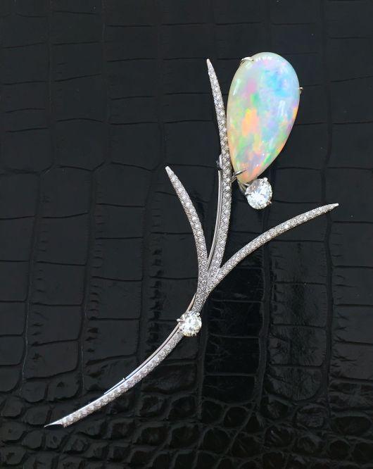 Broche Opale et Diamants Création 2016