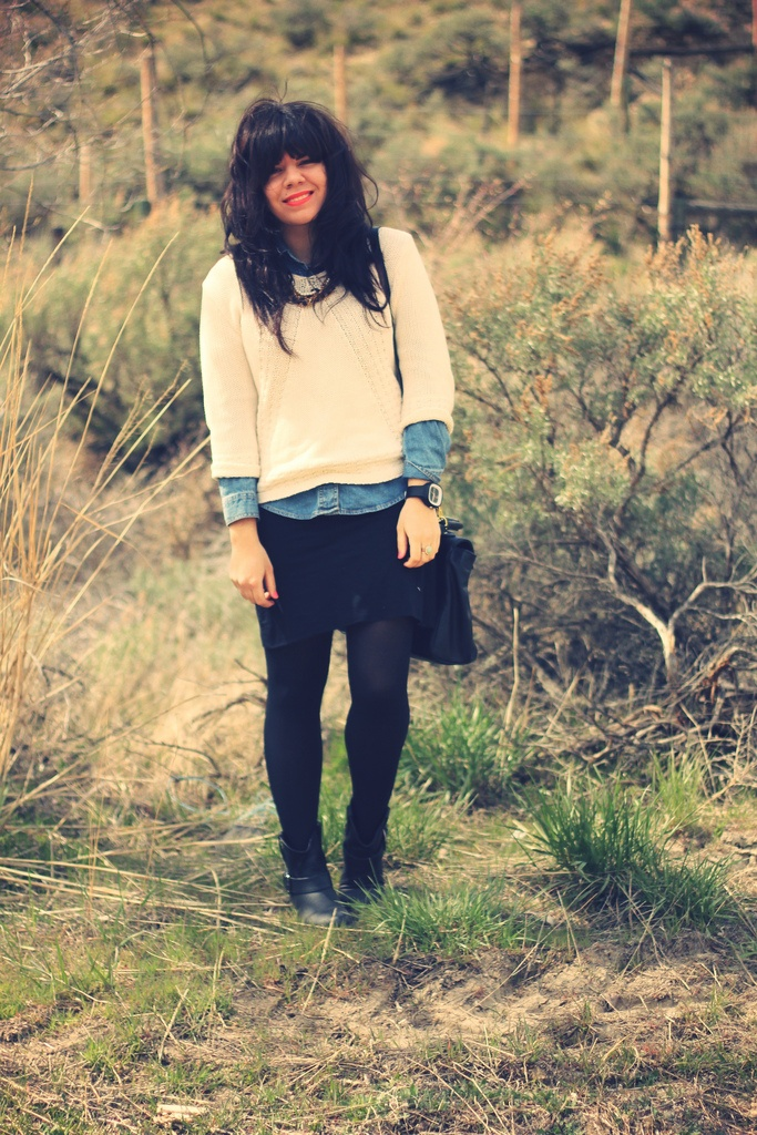 Love this cream sweater of the chambray shirt