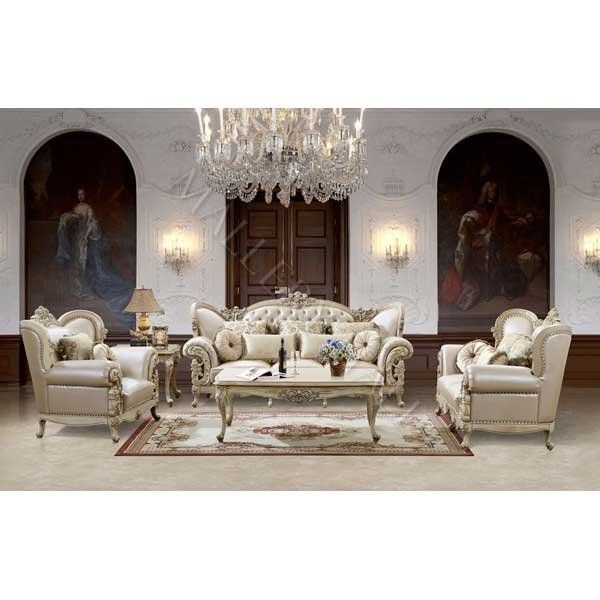 French Provincial Carved White Tufted 3 Pc Sofa Set