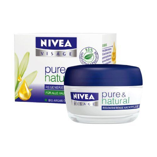 Nivea Visage Pure & Natural Regenerating Night Care Face Cream for all skin types 1.7fl oz. (50ml) by NIVEA. $32.99. 95% of the ingredients are of natural origin. Without parabens, without silicons, without colorants and without mineral oil. For all skin types. Provides intensive moisture and support the natural balance of the skin. With organic Argan Oil and organic Aloe Vera. Nivea's Pure & Natural Regenerating Night Care Face cream is the newest addition to the Pur...