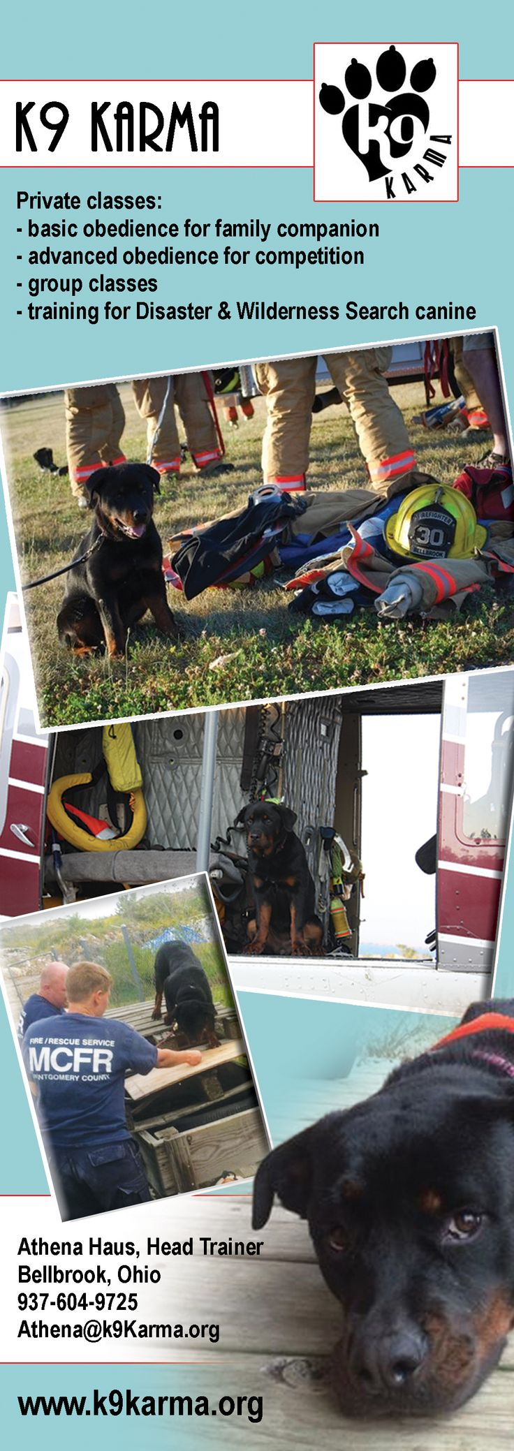 My name is Athena Haus and I am a 20 year veteran of the fire service. I am currently the EMS Officer for the Bellbrook Fire Department in Bellbrook, Ohio. I started my canine Search and Rescue career in 1995 with a female Rottweiler named Banshee who died at the age of 15.  In 2002, I partnered with a black Labrador Retriever named Gator, who turned 11 in February of 2012 and is now retired.