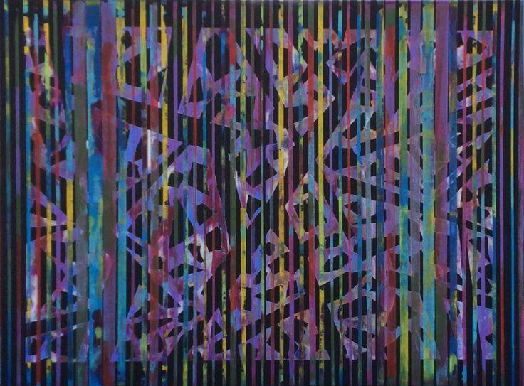 """A Ghost in the Machine"" - Acrylic on canvas.  Doc's Art Studio on Facebook.  Bob Logan, Artist."