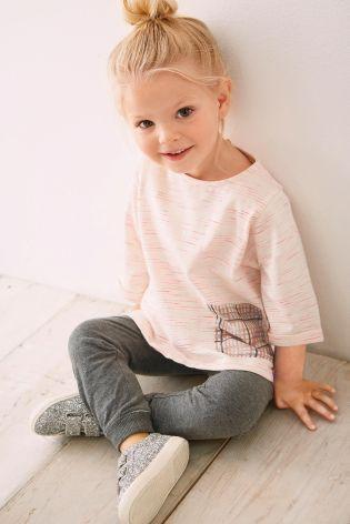 T-shirt rose à manches trois-quarts et poche (3 mois - 6 ans)