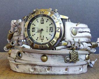 Distressed White Wrap Watch,  Womens leather watch, Bracelet Watch, Chain Wrist Watch, Fashion Watch