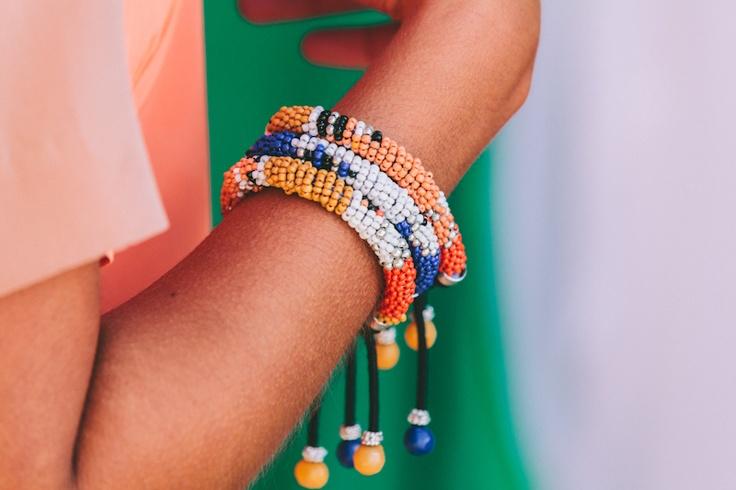 Lola & Syd Orange and Blue Beaded Bracelets