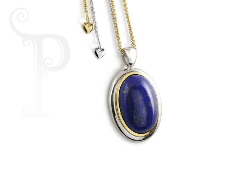 Handmade 9ct White Gold Double Bezel Set Lapis Lazuli on An Adjustable Chain
