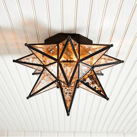 "Moravian Star Ceiling Mount Mercury Glass - 14"" - entry way or hallway"