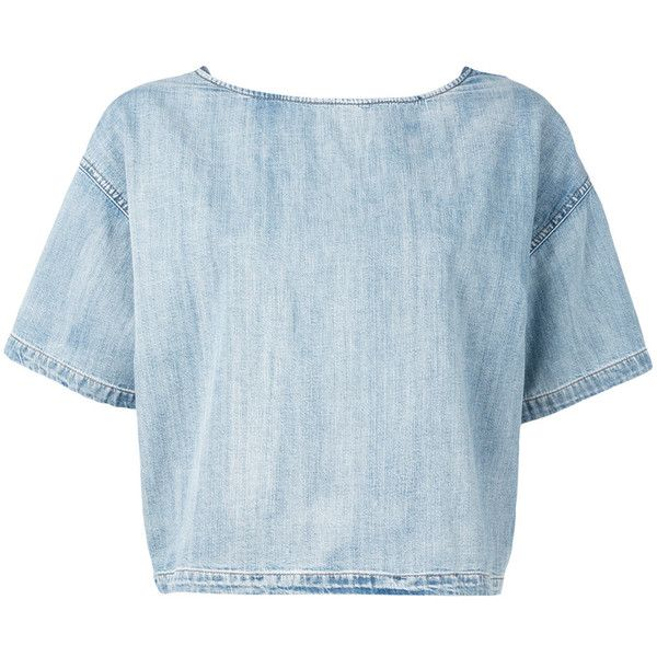 Diesel cropped T-shirt featuring polyvore, women's fashion, clothing, tops, t-shirts, blue, crop tee, diesel tees, blue t shirt, crop t shirt and diesel t shirts