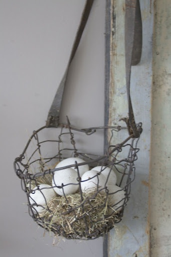 Exchange real eggs for chocolate ones!..♕ vintage wire basket would look pretty hanging outside on the garden shed ♥