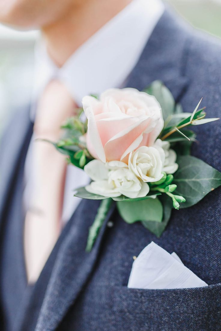 Blush Rose Buttonhole | Groom in Marks and Spencer Suit | Peach & White Wedding at Upwaltham Barns | White Stag Wedding Photography.