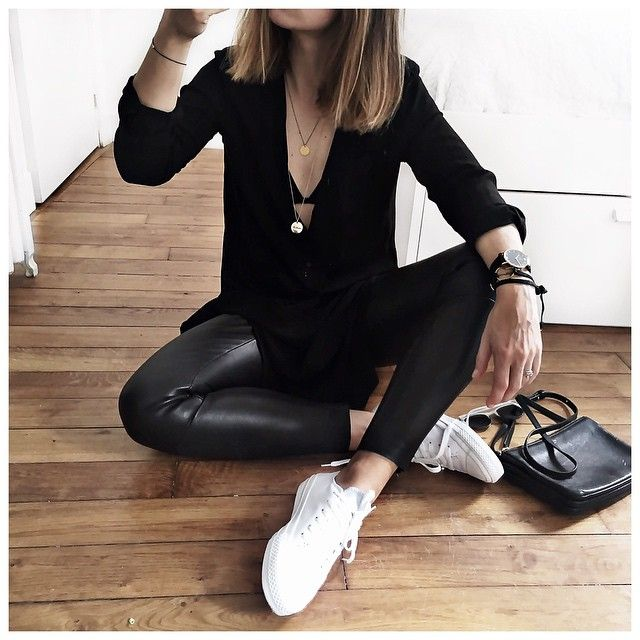 Leather leggings sweater u0026 sneakers. | Fashion | Pinterest | uc637uc7a5