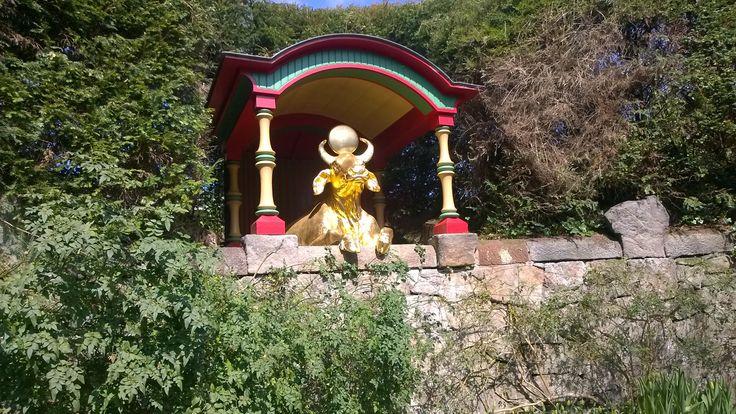 Biddulph Grange Garden Staffordshire UK. Golden Bull in the 'China' garden