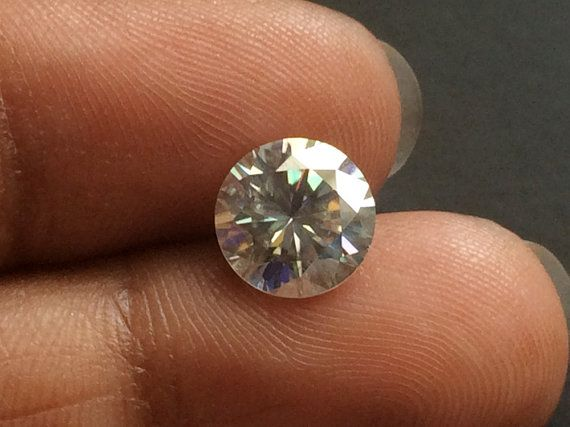 Moissanite Diamond Clear Round Solitaire Cut by gemsforjewels