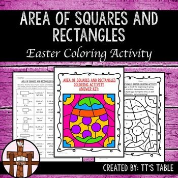 Great for test prep!In this activity your students will have 8 shapes(squares and rectangles) to calculate area. As students correctly identify the area of each figure, their answers will be linked to colors, and the colors will be used to complete an Easter themed coloring activity.This product is 1 of 8 Easter coloring activities that will be an Area, Perimeter, and Volume Easter Coloring Activity Bundle.