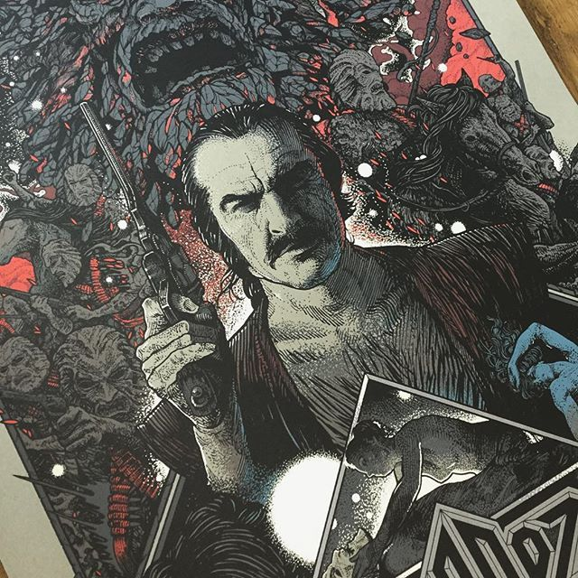 "Heads up! This SUNDAY I will have an extremely limited number of signed artist copies of my official ZARDOZ 24""x36""screen printed poster hitting my store. www.richeybeckett.com. Sign up to the mailing list on my site for further info! Link in my bio 👆🏼✨Thanks. ZARDOZ 🗿✨. (Poster originally via the incredible @mondotees). #richeybeckett #penandink #zardoz #seanconnery #charlotterampling #johnboorman #mondo"