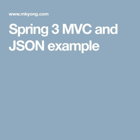 Spring 3 MVC and JSON example