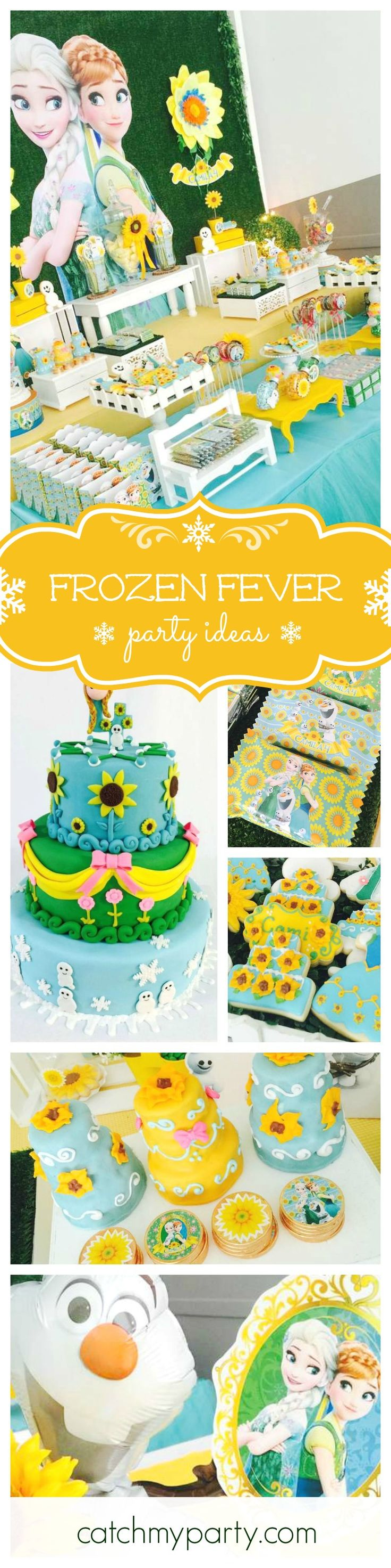 Loving this refreshing Frozen fever themed Birthday Party!! The dessert table is so pretty and just look at that table skirt! Adorable. See more party ideas at CatchMyParty.com
