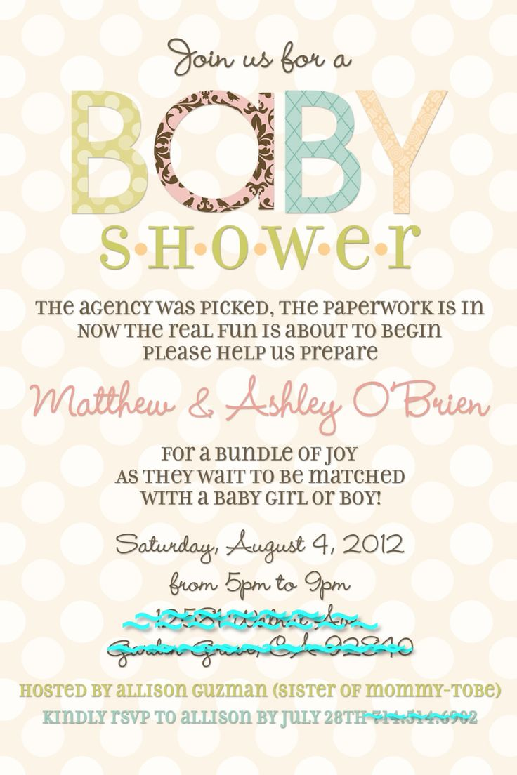 Adoption Baby Shower Invite!  @Stephanie Close Close Close Miera, potential wording (with a few tweaks)