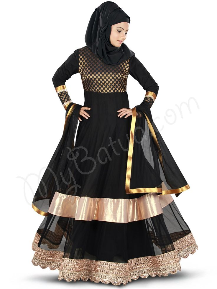 Beautiful Black Party Wear Abaya | MyBatua.com   Masudah Abaya !  Style No : AY-351  Shopping Link : http://www.mybatua.com/masudah-abaya  Available Sizes XS to 7XL (size chart: http://www.mybatua.com/size-chart/#ABAYA/JILBAB)  •Flared Abaya with round neckline •Brocade polka weave fabric over top and sleeves  •Shimmer fabric at bottom top layer •Bottom hem finished with designer bright lace •Straight matching sleeves •Matching Square Hijab (100x100 cm approx.)