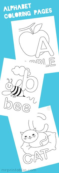 alphabet coloring pages and other fun printables! great website