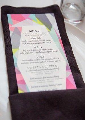 Neon Wedding Menu Greenhouse Loft 33 West Designs Wedding Stationery Inspiration: Neon via OSBP