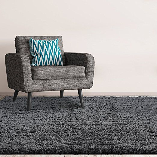Amazon.com: Heavenly Shag Area Rug 3ft0in x 4ft6in in Charcoal: Kitchen & Dining
