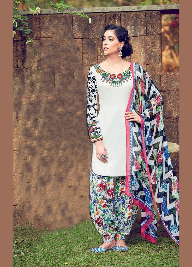 Off White Cotton Satin Punjabi Suit 70182