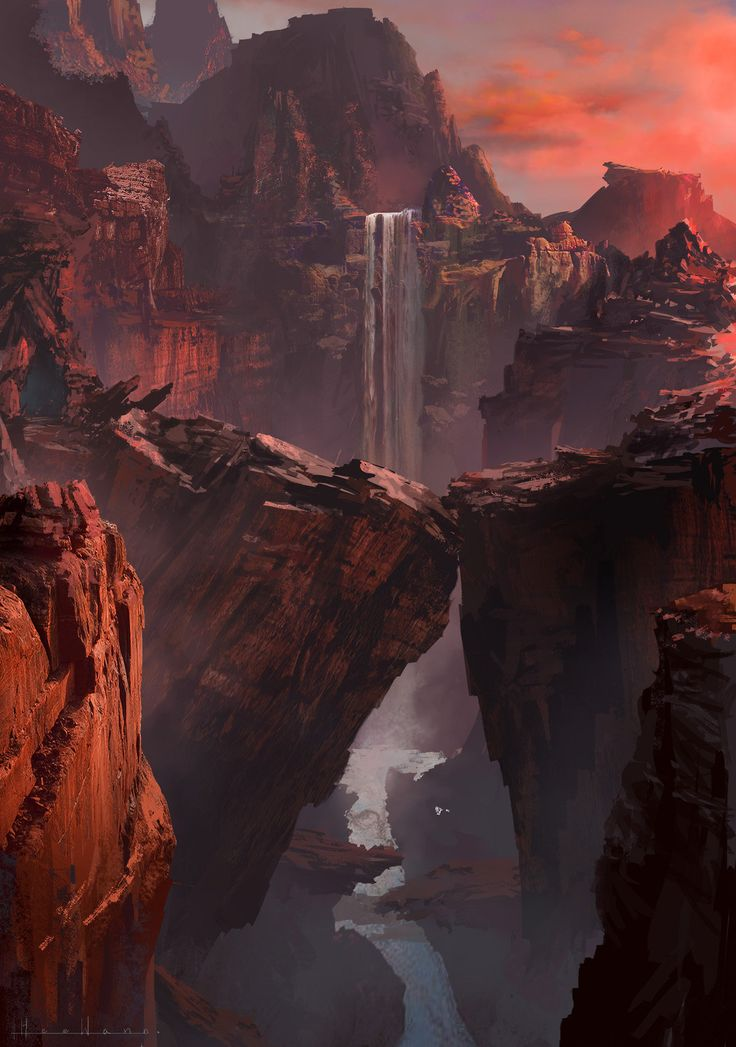ArtStation - Red Canyon, HeeWann Kim Landscape, Cave,  bridge, Cliff,  Fantasy,  Realistic, Whimsy, painted, River, Waterfall