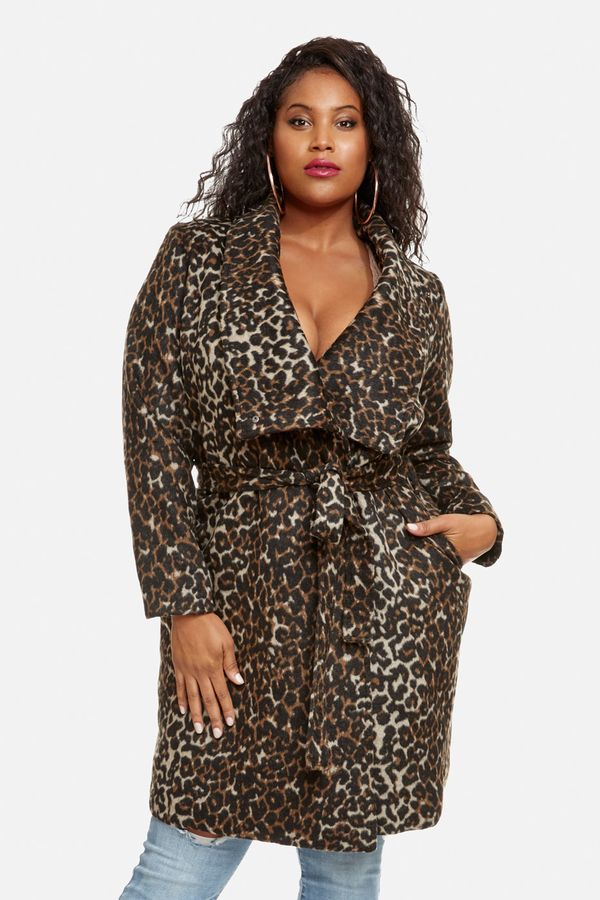 Fashion to Figure Finley Leopard Long Wool Coat