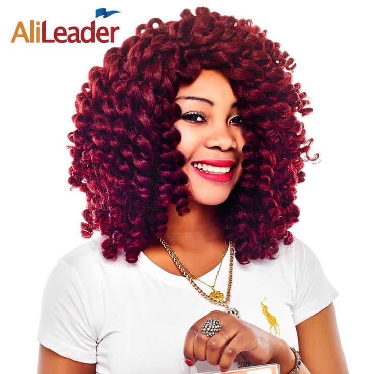 AliLeader Jumpy Wand Curl Black Wine Red Brown Blonde Crochet Braids, 100 Kanekalon Synthetic Braid Afro Hair Extensions 10Pcs #Affiliate