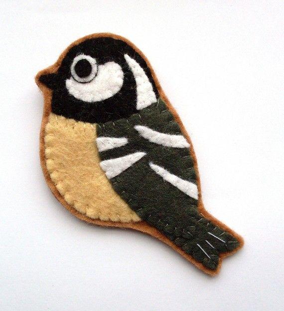 Felt Bird Brooch Coal Tit by lupin on Etsy, £14.00