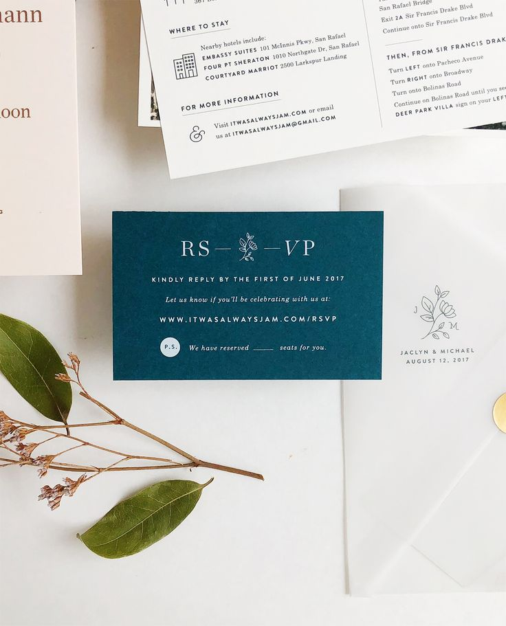 reply to wedding invitation m%0A Understated Blush and Teal Wedding Invitations
