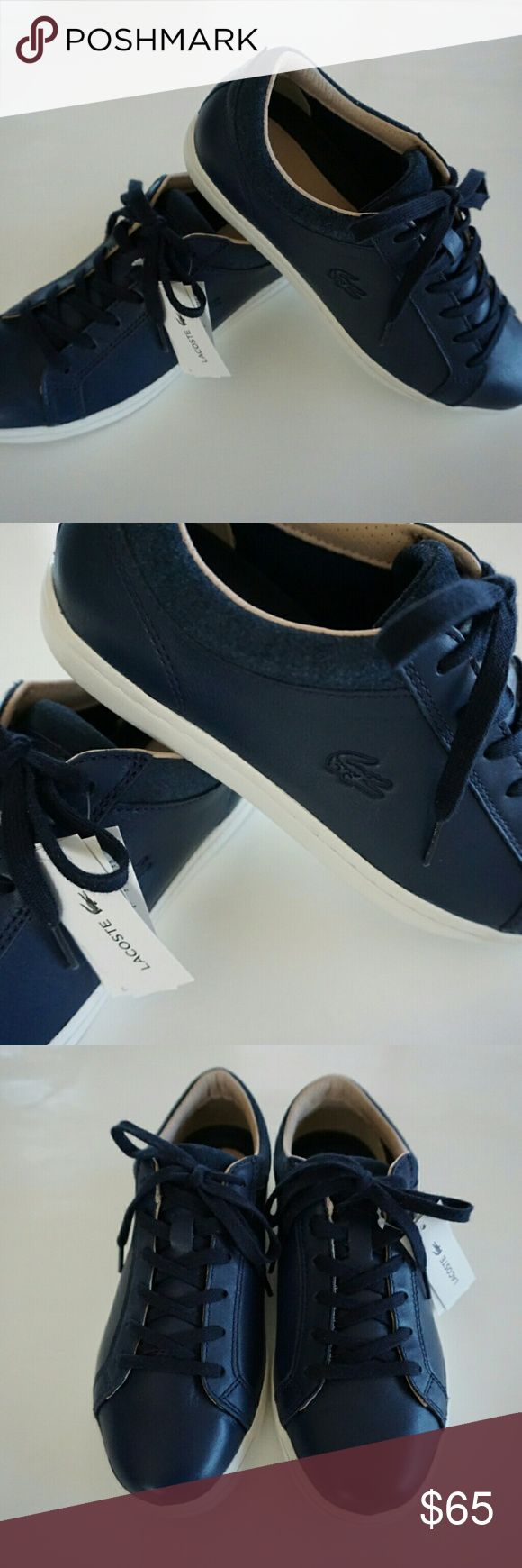 LACOSTE NAVY BLUE LEATHER SNEAKERS SHOES Lacoste navy blue soft leather tennis shoes / sneakers. Tan trim, navy laces, white rubber soles.  Size 7.5 New with tags - no box Lacoste Shoes Sneakers