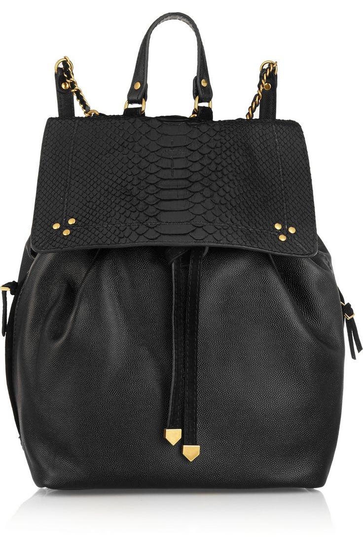 Jérôme Dreyfuss|Florent textured-leather and python backpack|NET-A-PORTER.COM