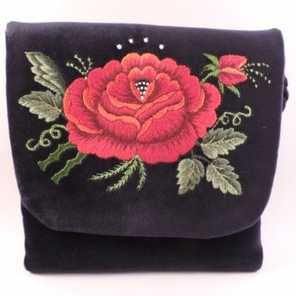 Granatowa torebka z haftem łowickim (czerwona róża) - Torebki i kosmetyczki | Sztuka ludowa i rzemiosło - ludowidła.pl