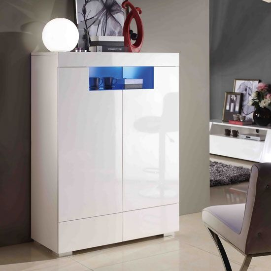 Entertainment sideboard with blue leds high gloss white The range high gloss living room furniture