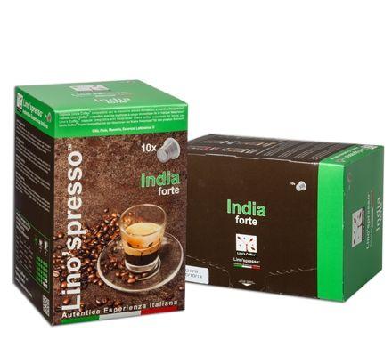 India Forte: Da un'attenta selezione dei migliori chicchi verdi provenienti dalle piantagioni dell'India del Sud e dopo un'accurata torrefazione si ottiene un caffè dal gusto di nocciola con sentori della terra bagnata e del tabacco delicato e piacevole.