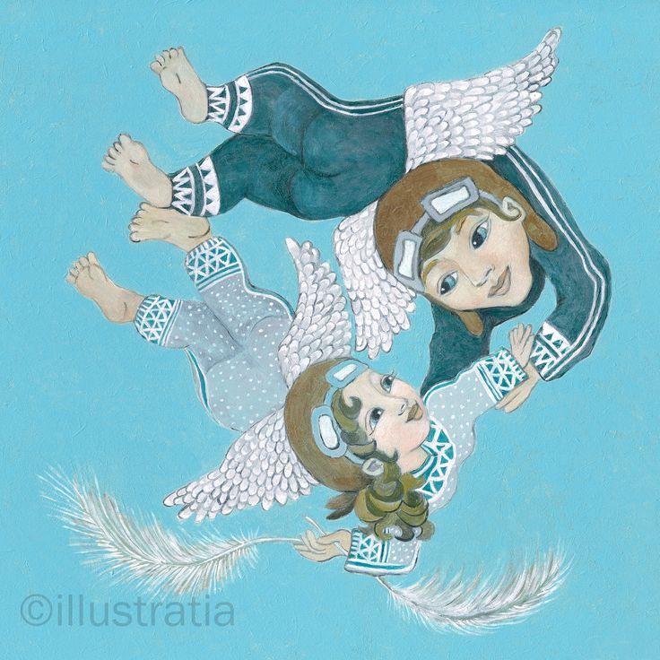 Acrylschilderij op paneel 30x30 cm. Uit de 8-delige serie 'angelical antics'. titel: 'fun flying'