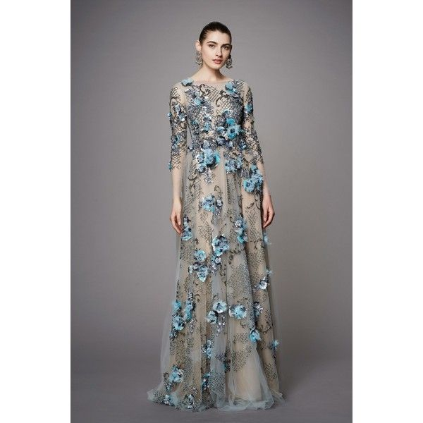 Marchesa Pre-Fall 2017 ❤ liked on Polyvore featuring gown and marchesa