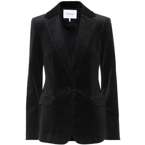 Frame Classic Velvet Blazer (£540) ❤ liked on Polyvore featuring outerwear, jackets, blazers, black, velvet jacket, velvet blazer and blazer jacket