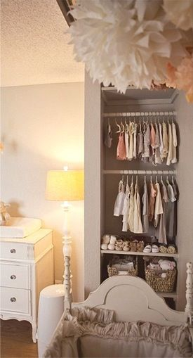 end closet space used as baby nursery closet Manike: I would love my kids closets to look like this