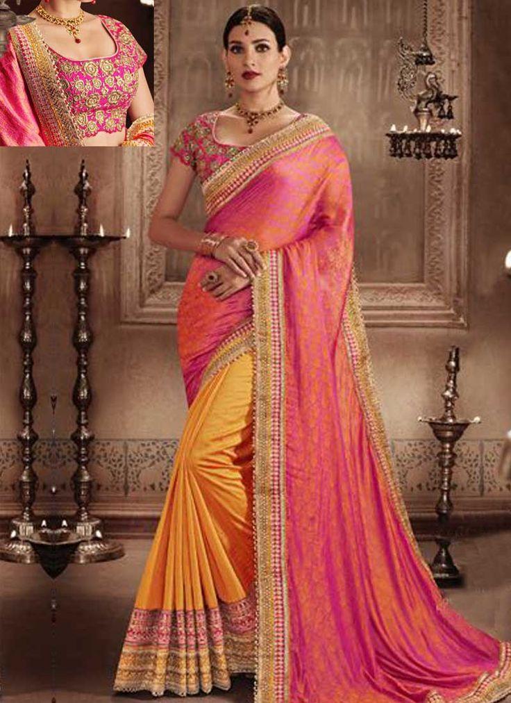 Pink Orange Embroidery Work Silk Jacquard Designer Fancy Wedding Half Sarees