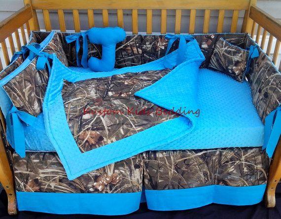 New 7 piece brown real tree Max 4 CAMOUFLAGE baby crib bedding set w/ turquoise  minky dot fabrics camo